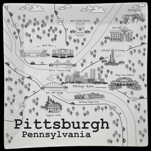 """$50.00 Pittsburgh Black/White Map Square Plate - 10"""""""