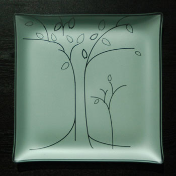 "$88.00 13"" Square Tree Plate"