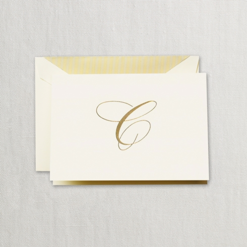 "$24.00 Hand Engraved Notes With Gold Initial ""C"""