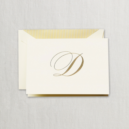 "$24.00 Hand Engraved Notes With Gold Initial "" D"""