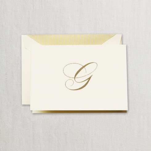 "$24.00 Hand Engraved Notes With Gold Initial ""G"""