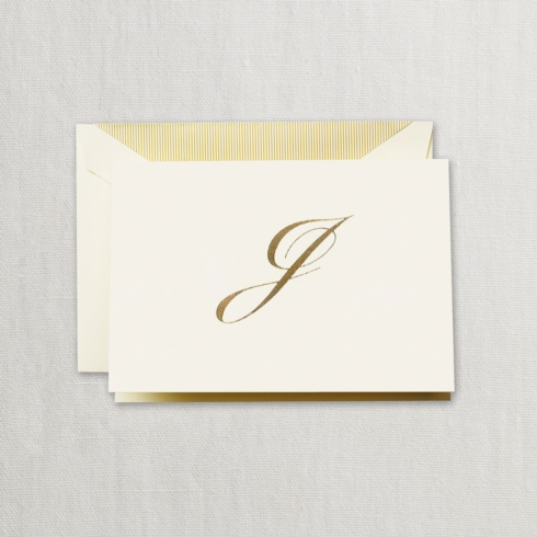 "$24.00 Hand Engraved Notes With Gold Initial ""J"""