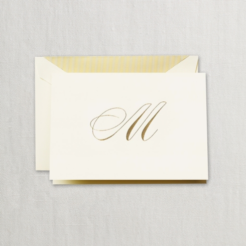 "$24.00 Hand Engraved Notes With Gold Initial ""M"""
