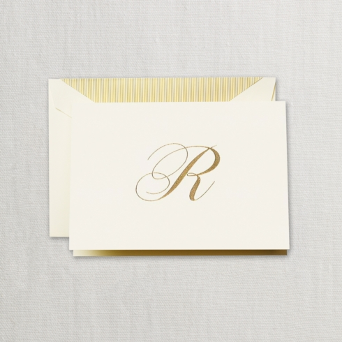 "$24.00 Hand Engraved Notes With Gold Initial ""R"""