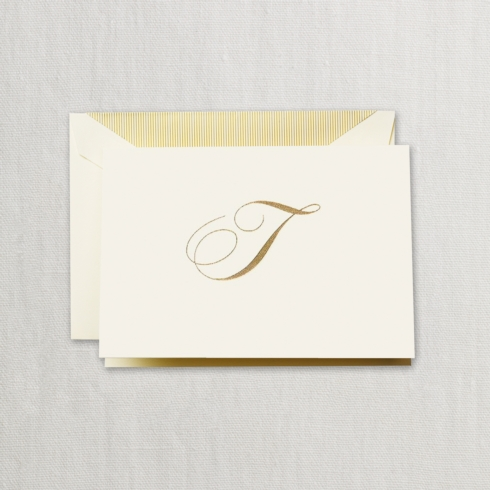 "$24.00 Hand Engraved Notes With Gold Initial ""T"""