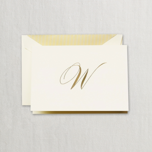 "$24.00 Hand Engraved Notes With Gold Initial "" W"""