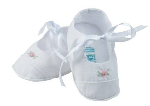 $24.95 White Booties With Rose & Ribbon