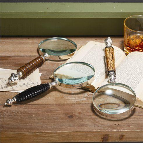 $50.00 Dakarai Carved Handle Magnifier Assorted 3 Styles: Bone, Mango Wood, and Horn - EACH