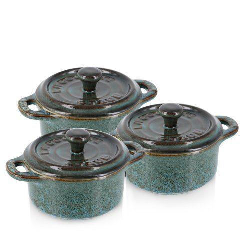 $115.00 Ceramic 3-pc Mini Round Cocotte Set Rustic Turquoise