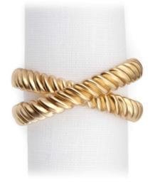 $32.00 Deco Twist Gold Napkin Ring Each