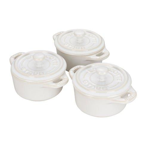 $115.00 Ceramic 3-pc Mini Round Cocotte Set Rustic Ivory