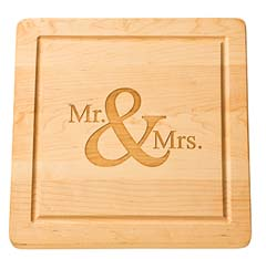 """$112.95 Personalized 14"""" Square Wooden Cutting Board"""