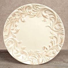 $27.95 Acanthus Leaf Dinner Plate ~ Cream