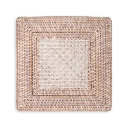 $22.95 Rattan Square Plate Charger ~ White Natural