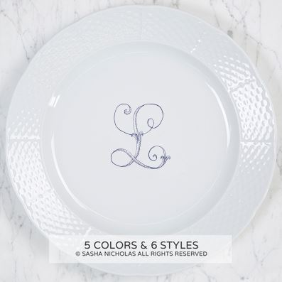 "$65.95 Weave Dinner Plate with Monogram ~ "" L"""