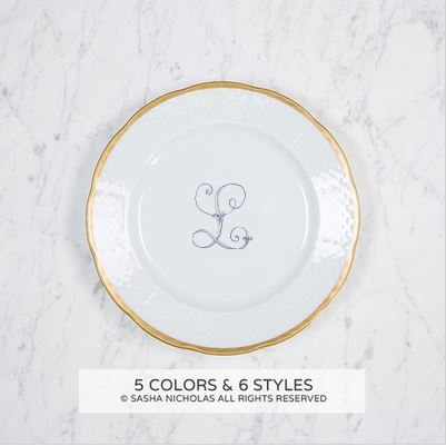 "$72.95 Weave Gold Rimmed Salad Plate with Monogram ~ "" L"""