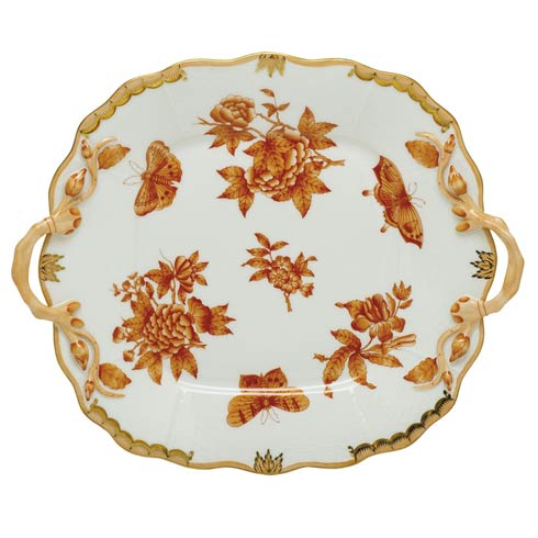 $490.00 Square Cake Plate with Handle - Multicolor
