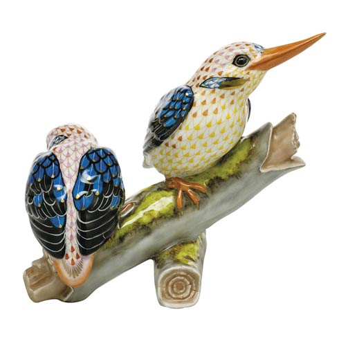 $2,875.00 Pair of Black-Backed Kingfishers-Multicolor