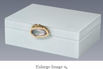 $86.50 Italian Wood Box Aqua with Large Stone