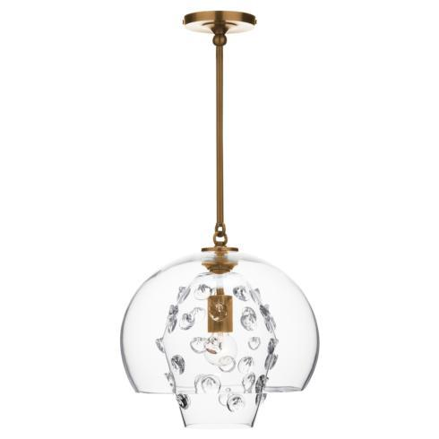 $950.00 Florence Grande Double Shade Pendant in Brass