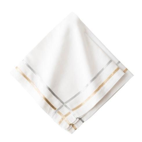 $25.00 Metallic Ribbon Lattice Gold/Silver Napkin