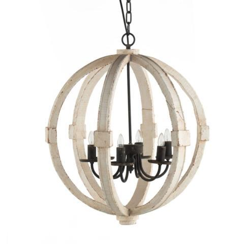 $470.00 WOOD AND METAL GLOBE CHANDELIER