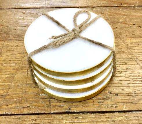 $34.00 MARBLE COASTERS WITH BRASS EDGE - SET OF 4