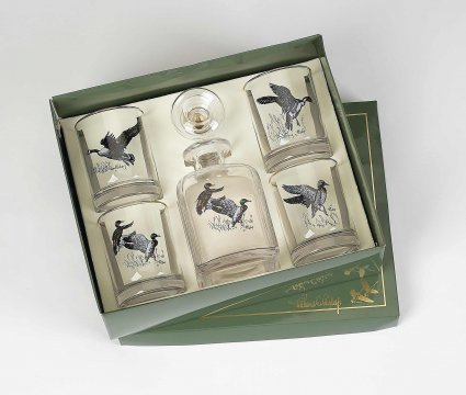 $80.00 WATERFOWL DECANTER AND OLD FASHION SET