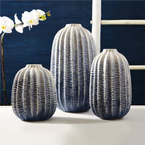 $44.00 BLUE ZIG ZAG OMBRE VASE - MEDIUM