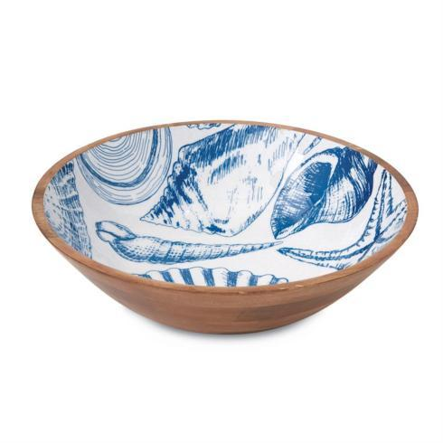 $49.50 Blue Shell Wood Bowl
