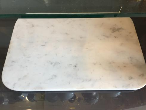 $160.00 WHITE MARBLE BOARD W/BRASS FEET