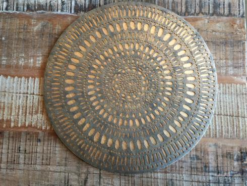 $200.00 KIM SEYBERT SET OF 12 PLACEMATS GOLD MANDALA