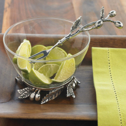 $35.00 Glass Olive Bowl with Cocktail Fork