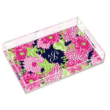 $99.00 White Zin Large Tray with Monogram