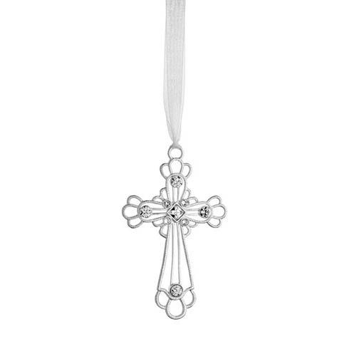 $45.00 Crystal Cross Silverplate Ornament