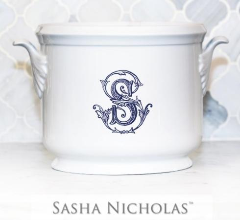 "$185.00 Champagne Bucket with Navy ""S"""