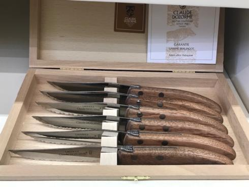 $149.00 Berlingot Steak Knives w/Exotic Wood Handles~set of 6