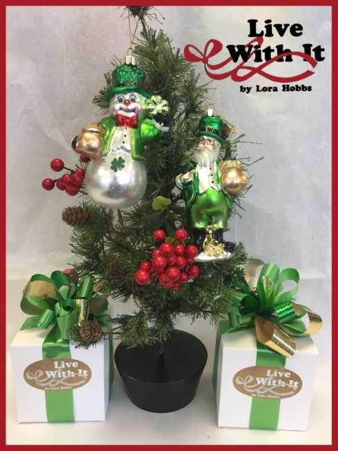 $23.00 Glass Irish Snowman and Santa Ornaments, Set of 2