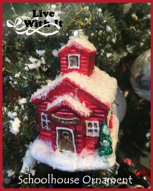 $11.00 Red Schoolhouse Ornament, Glass