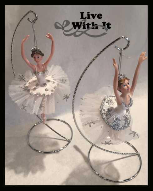 $23.00 Snow Crystal Ballerina Ornaments, Set of 2