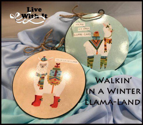 $24.00 Llama Disc Ornaments, Assorted Set of 2