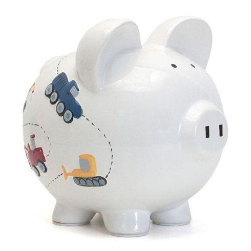 $34.00 White Construction Piggy Bank
