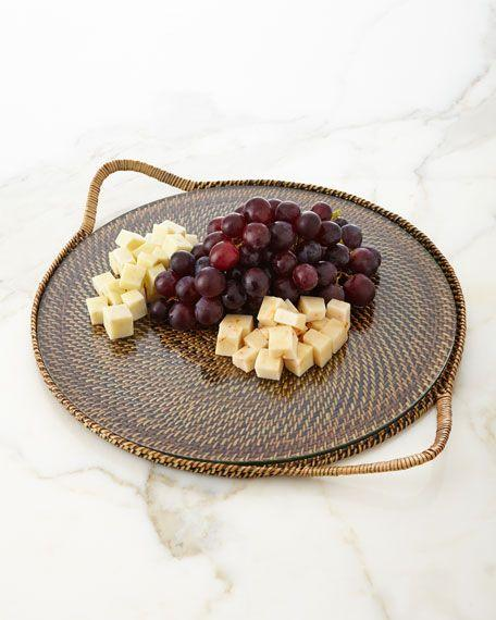 $75.00 Round Serving Tray with Glass Bottom