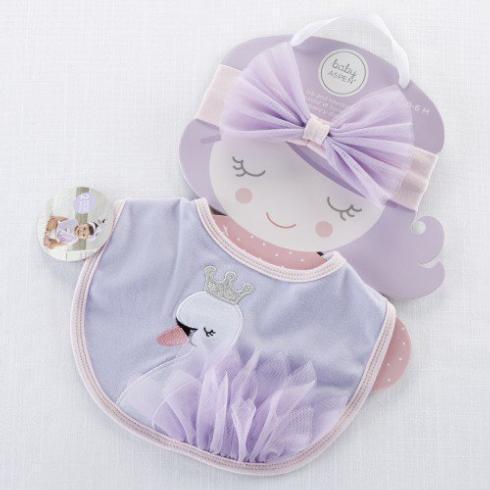 $18.00 Fairy Princess Swan Bib and Headband Set