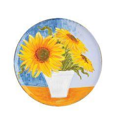 $158.00 Sara\'s Flowers: Sunflowers Round Wall Plate