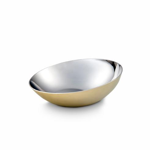 "$30.00 Tilted Bowl w/ Brass Plated 6"" D"