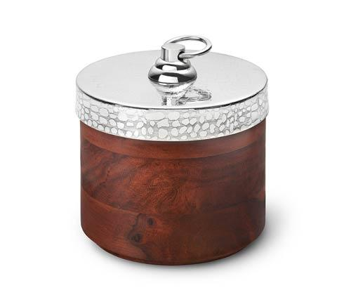 $50.00 Ind.Rosewood Round Box w/Croc Lid