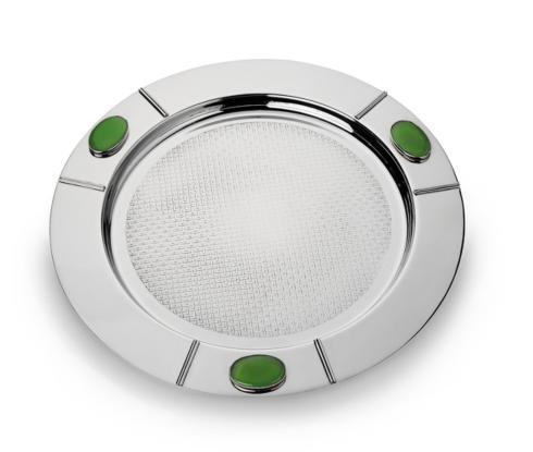 $270.00 Round Serve Tray w/Green Onyx Stone
