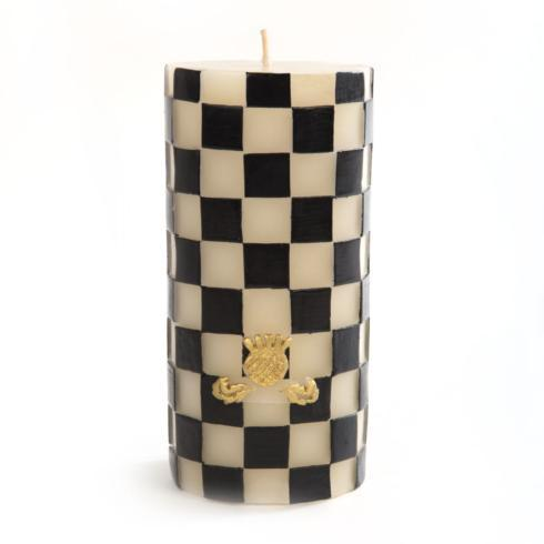 $50.00 Black & White Check Pillar Candle - 6""