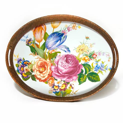 $155.00 Rattan u0026 Enamel Party Tray - White  sc 1 st  Polka-Dot Penguin & MacKenzie-Childs Flower Market products